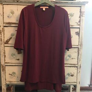 Rebellious One Burgundy High Low Tunic (XL) - EUC